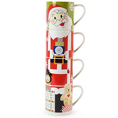 Maxwell & Williams™ Kris Kringle Santa Stackable Holiday Mugs (Set of 4)