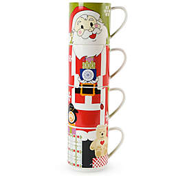 Maxwell & Williams™ Kris Kringle Santa Stackable Holiday Mugs (Set of 4)