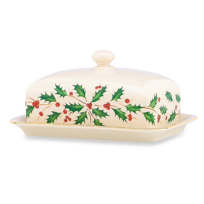 Alternate image 1 for Lenox® Holiday™ 7.25-Inch Covered Butter Dish