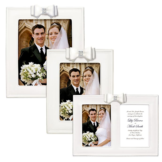 Alternate image 1 for Grasslands Road® Porcelain Wedding Picture Frame with Resin Bow