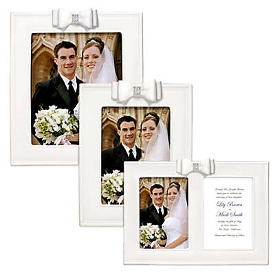 Grasslands Road® Porcelain Wedding Picture Frame with Resin Bow