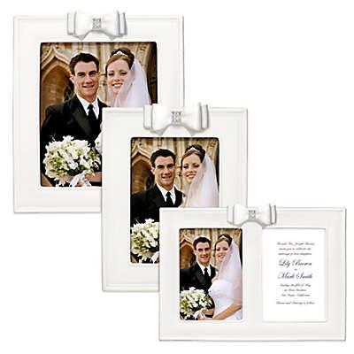 Grasslands Road® Porcelain Wedding Picture Frame with Resin Bow