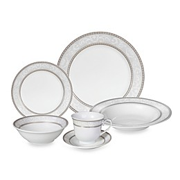 Lorren Home Trends Sirena Lace 24-Piece Dinnerware Set