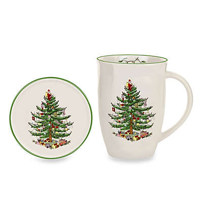 Spode® Christmas Tree 12 oz. Mug and Coaster Set