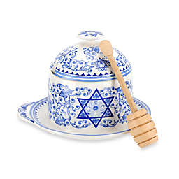 Spode® Judaica Honey Pot with Drizzler