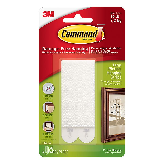 Alternate image 1 for 3M Command™ 4-Pack Large Picture Hanging Strips