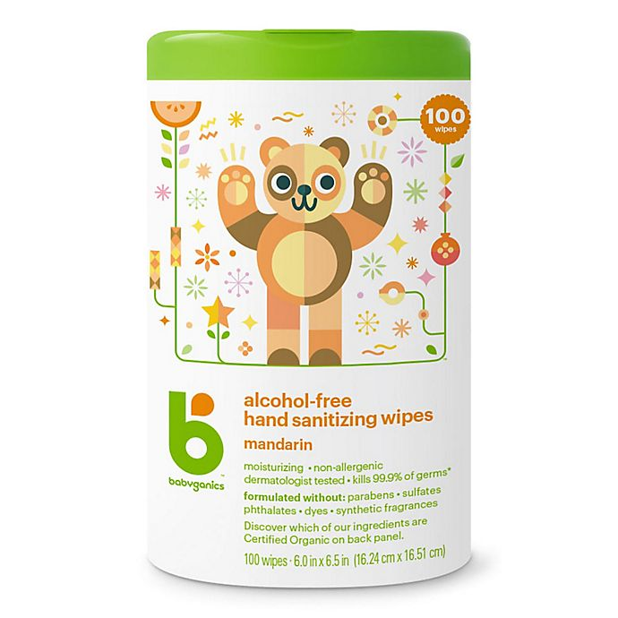 Alternate image 1 for Babyganics® 100-Count Alcohol-Free Mandarin Hand Sanitizing Wipes