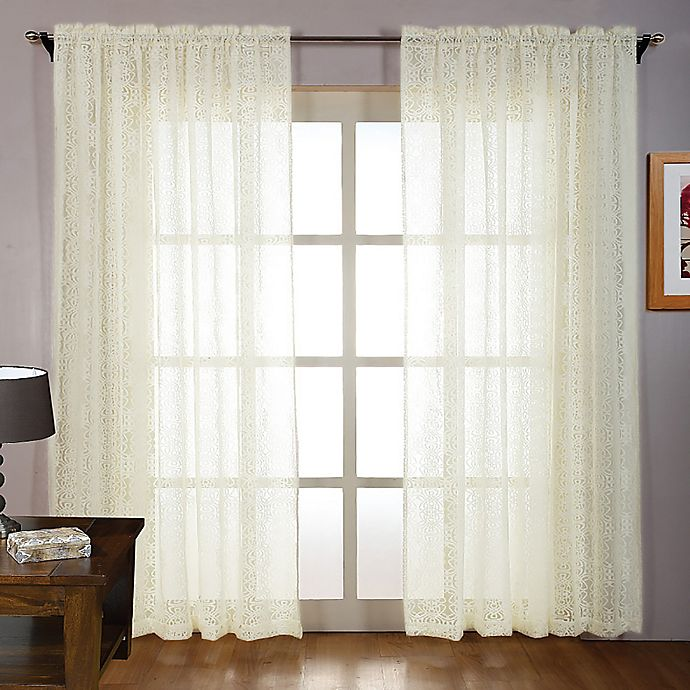 Laura Ashley® 84-Inch Tile Lace Window Curtain Panel Pair