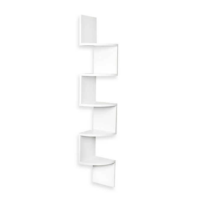 Alternate image 1 for Zig Zag Five Level Corner Wall Mount Shelf in White