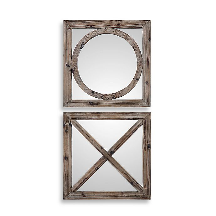 Alternate image 1 for Uttermost Baci e Abbracci 18-Inch Square Wooden Mirrors in Light Grey (Set of 2)