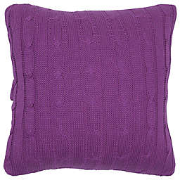 Rachel Kate Jealla Girl Cable Knit Sweater 18-Inch Square Throw Pillow in Rasberry