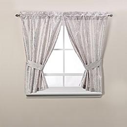 Forest Fabric Metallic Print Bath Window Curtain Panel Pair