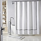Wamsutta® Baratta Stitch 72-Inch x 96-Inch Shower Curtain in White/Black