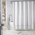 Wamsutta® Baratta Stitch 72-Inch x 72-Inch Shower Curtain in White/Taupe