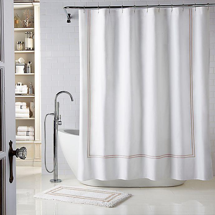 Alternate image 1 for Wamsutta® Baratta Stitch 72-Inch x 72-Inch Shower Curtain in White/Taupe