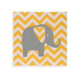 Glenna Jean Swizzle Chevron Elephant Wall Art in Yellow/Grey