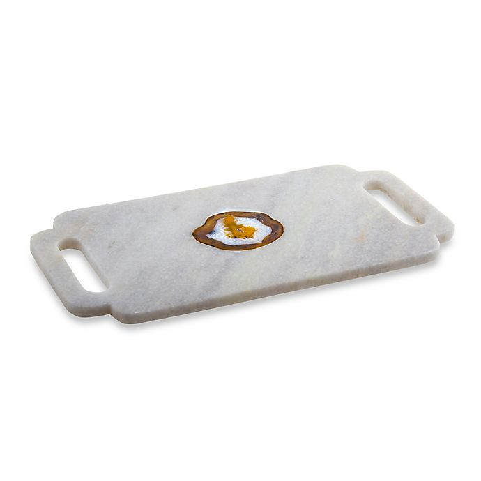 Alternate image 1 for Thirstystone® Rectangular Serving Board in White Marble/Agate Inlay