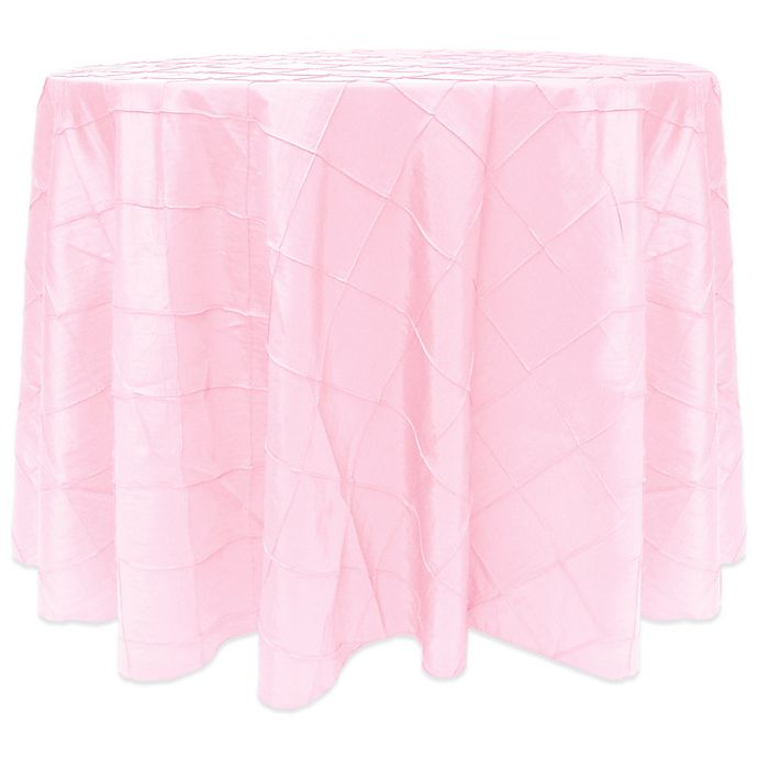 Alternate image 1 for Bombay Diamond-Stitched Pintuck 90-Inch Round Tablecloth in Bubble Gum