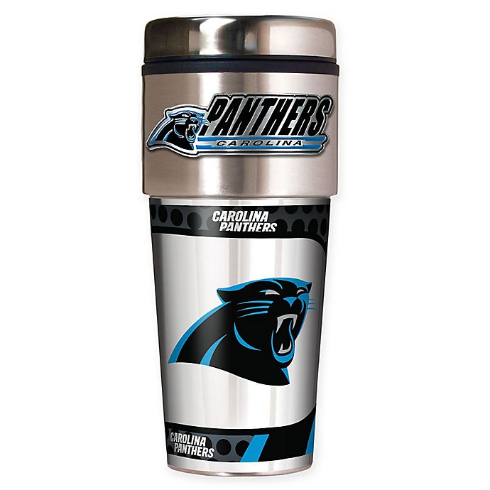 Alternate image 1 for NFL Carolina Panthers 16 oz. Stainless Steel Travel Tumbler
