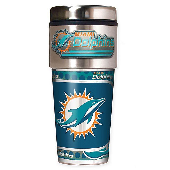 Alternate image 1 for NFL Miami Dolphins 16 oz. Stainless Steel Travel Tumbler