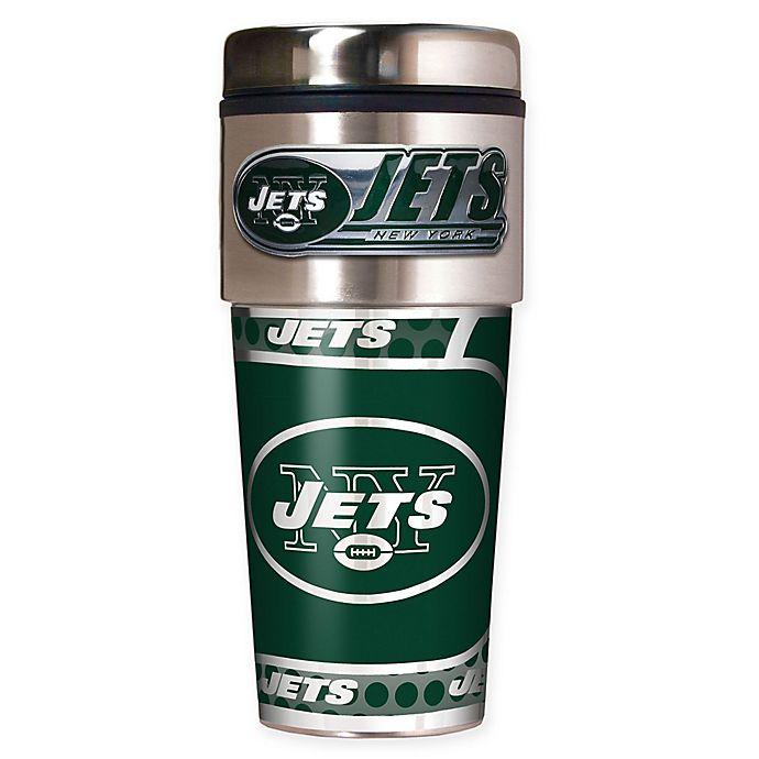 Alternate image 1 for NFL New York Jets 16 oz. Stainless Steel Travel Tumbler