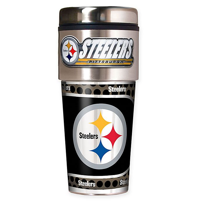 Alternate image 1 for NFL Pittsburgh Steelers 16 oz. Stainless Steel Travel Tumbler