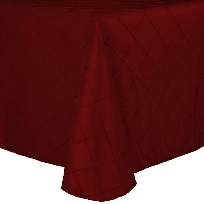 Alternate image 1 for Bombay Diamond-Stitched Pintuck 72-Inch x 108-Inch Tablecloth in Garnet