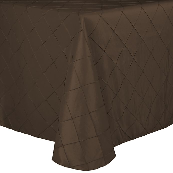 Alternate image 1 for Bombay Diamond-Stitched Pintuck 72-Inch x 108-Inch Tablecloth in Burnt Gold