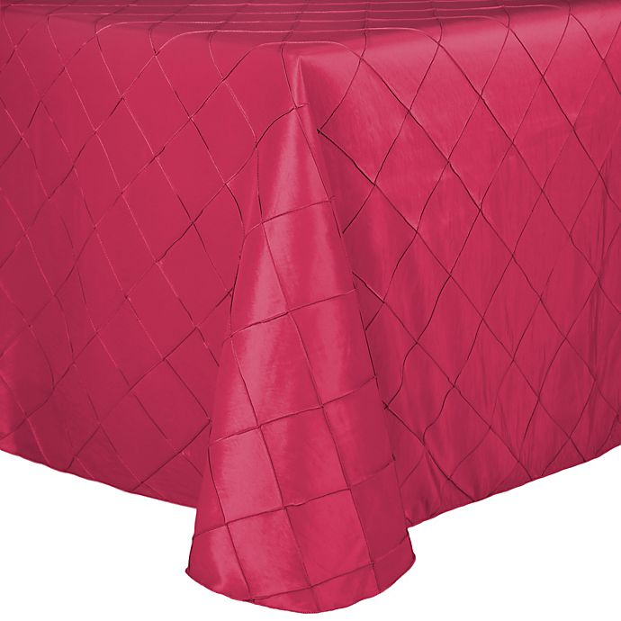 Alternate image 1 for Bombay Diamond-Stitched Pintuck 72-Inch x 108-Inch Tablecloth in Watermelon