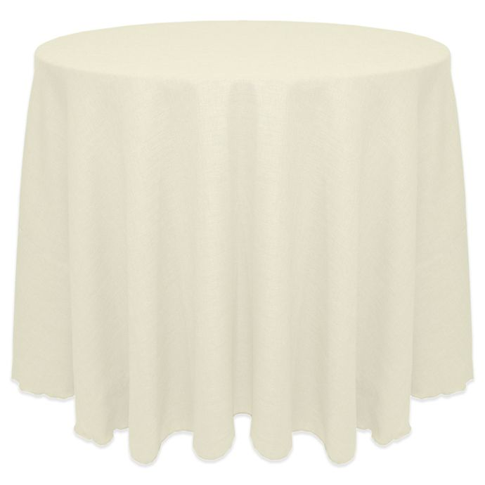 Alternate image 1 for Ultimate Textile Havana Faux Burlap 120-Inch Round Tablecloth in White