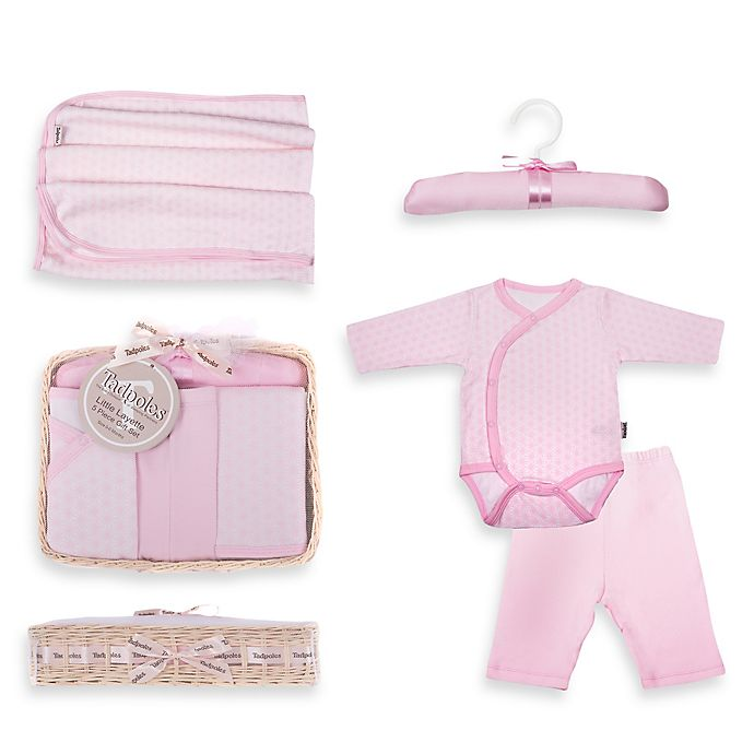 Alternate image 1 for Tadpoles™ by Sleeping Partners Starburst Size 6-12M 5-Piece Layette Baby Gift Set in Pink