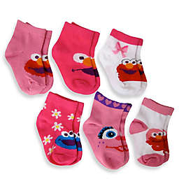 6-Pack Elmo Girls Quarter Socks in Assorted Designs