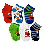 Size 12-24M 6-Pack Elmo Boys Quarter Socks in Assorted Designs