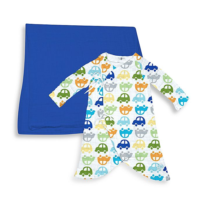 Alternate image 1 for i Play.® Brights 2-Piece Organic Cotton Muslin Car Gown and Blanket Gift Set in Royal Blue