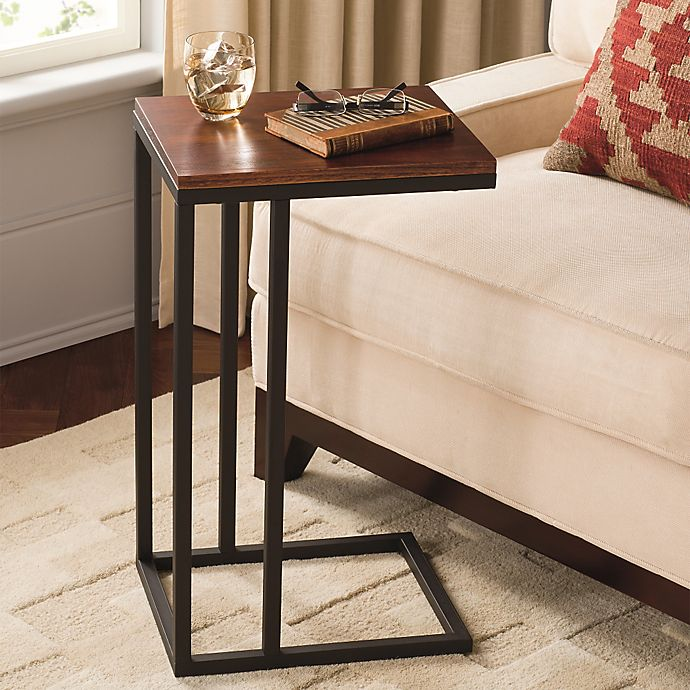 Alternate image 1 for Black and Tan Hamilton Narrow Wood Top C Table