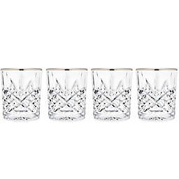 Godinger Platinum 8 oz. Double Old-Fashioned Glasses (Set of 4)