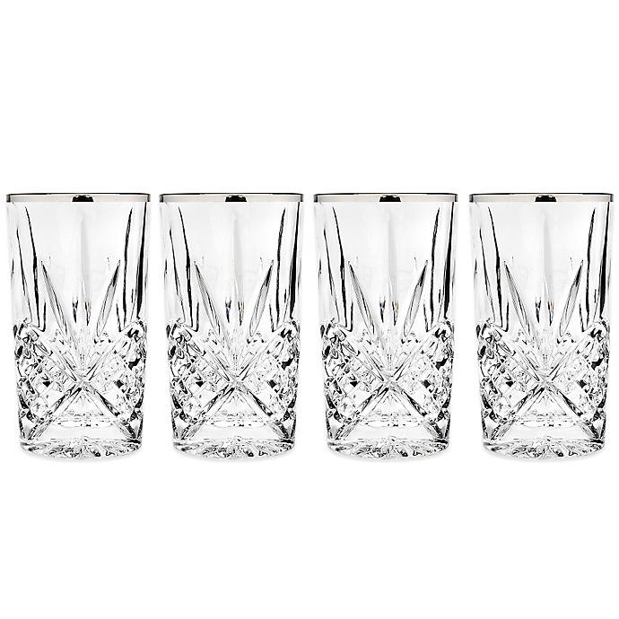 Alternate image 1 for Godinger Platinum 10 oz. Highball Glasses (Set of 4)
