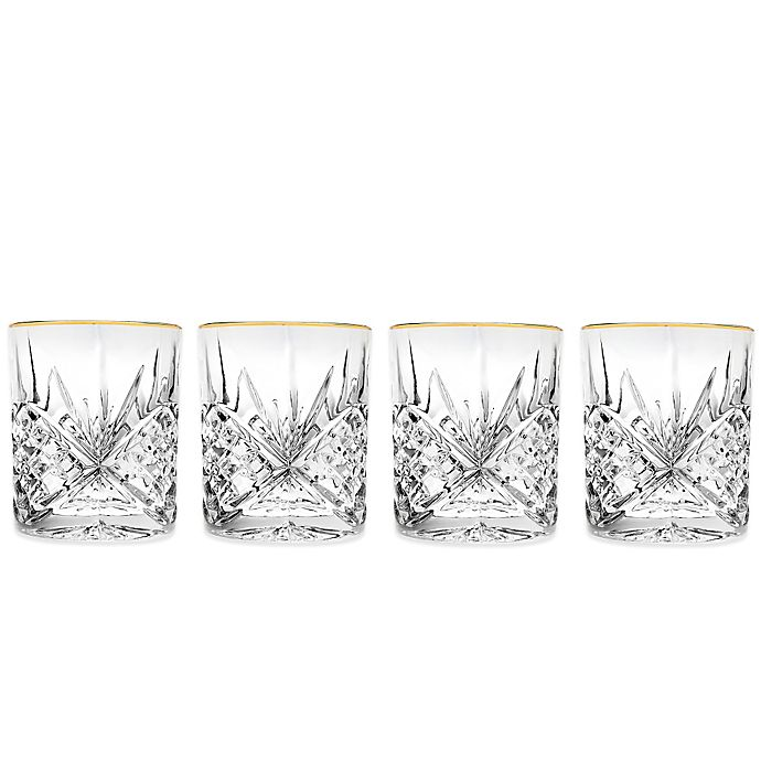 Alternate image 1 for Godinger Gold 8 oz. Double Old-Fashioned Glasses (Set of 4)