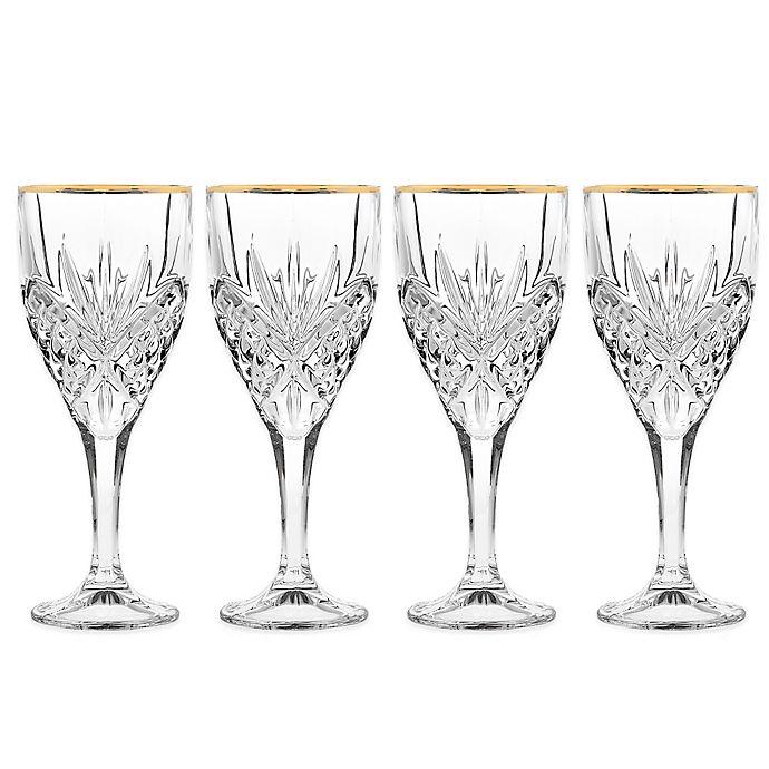 Alternate image 1 for Godinger Gold 9 oz. Goblet Glasses (Set of 4)