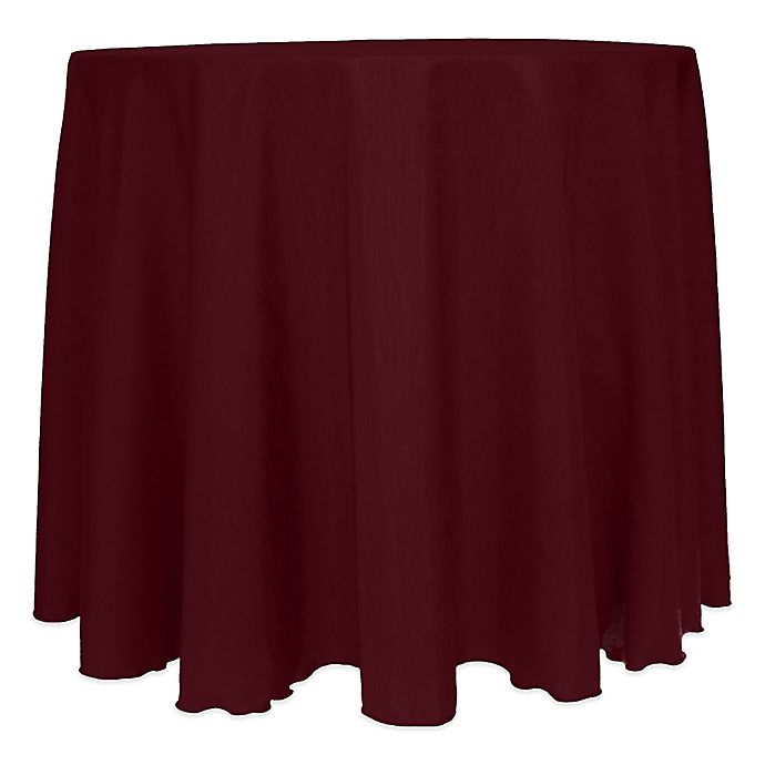 Alternate image 1 for Majestic Satin Finished 120-Inch Round Tablecloth in Burgundy