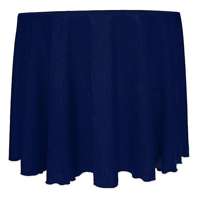 Alternate image 1 for Majestic Satin Finished 120-Inch Round Tablecloth in Navy