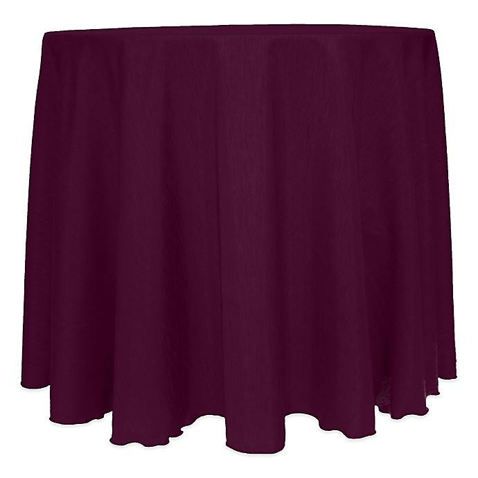 Alternate image 1 for Majestic Satin Finished 120-Inch Round Tablecloth in Aubergine