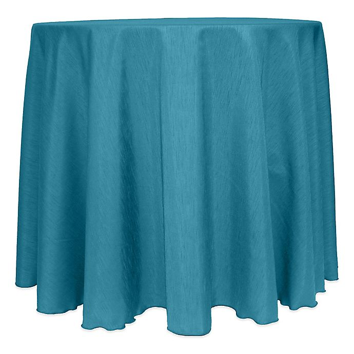 Alternate image 1 for Majestic Satin Finished 120-Inch Round Tablecloth in Turquoise