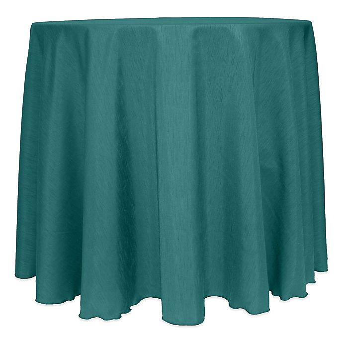Alternate image 1 for Majestic Satin Finished 120-Inch Round Tablecloth in Teal