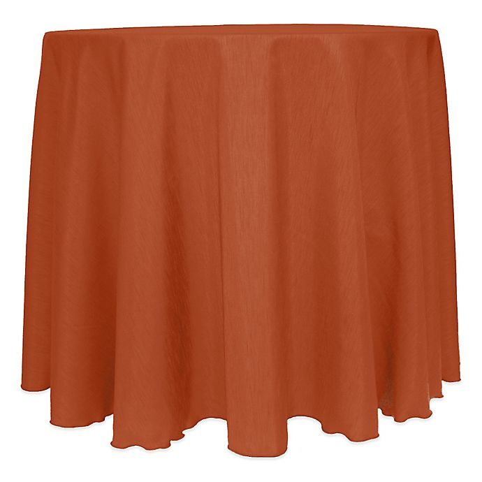 Alternate image 1 for Majestic Satin Finished 120-Inch Round Tablecloth in Burnt Orange