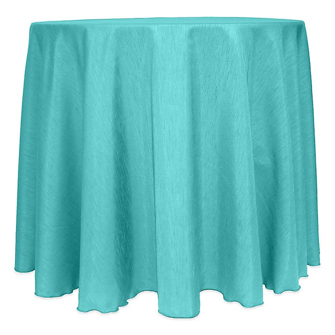 Alternate image 1 for Majestic Satin Finished 120-Inch Round Tablecloth in Caribbean Blue