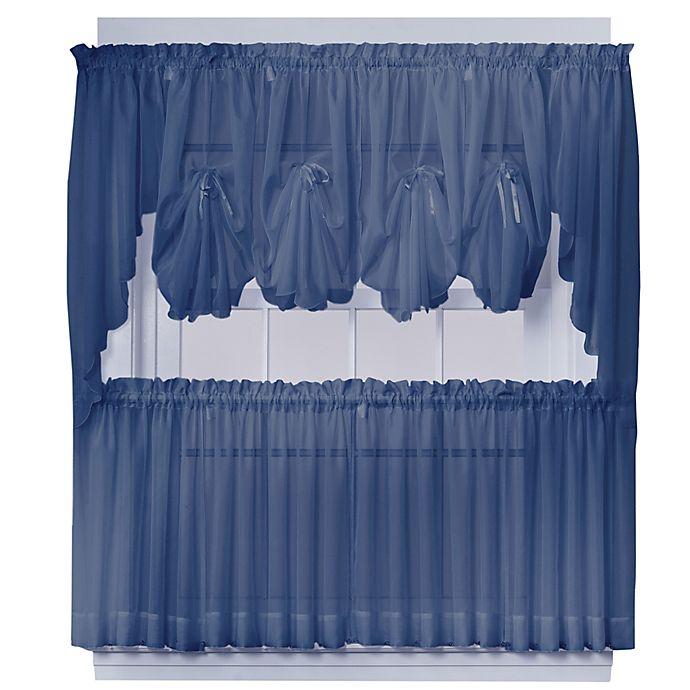 Alternate image 1 for Emelia 24-Inch Sheer Window Curtain Tier Pair in Navy
