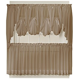 Emelia 40-Inch Fan Insert Sheer Window Curtain in Taupe