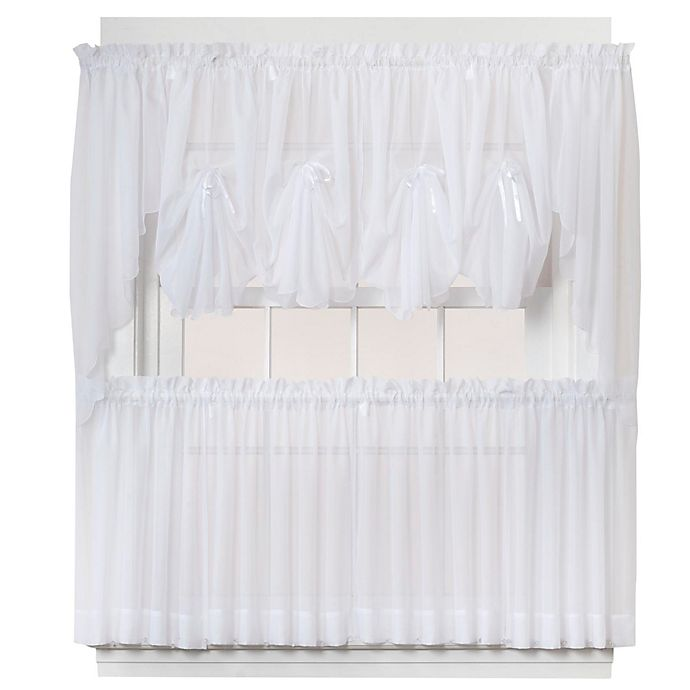Alternate image 1 for Emelia 24-Inch Sheer Window Curtain Tier Pair in White