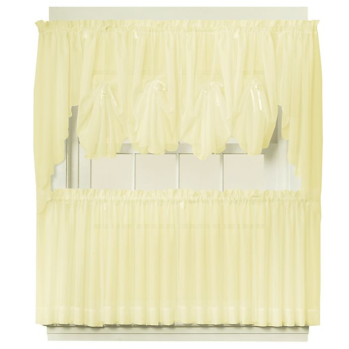 Alternate image 1 for Emelia 24-Inch Sheer Window Curtain Tier Pair in Yellow